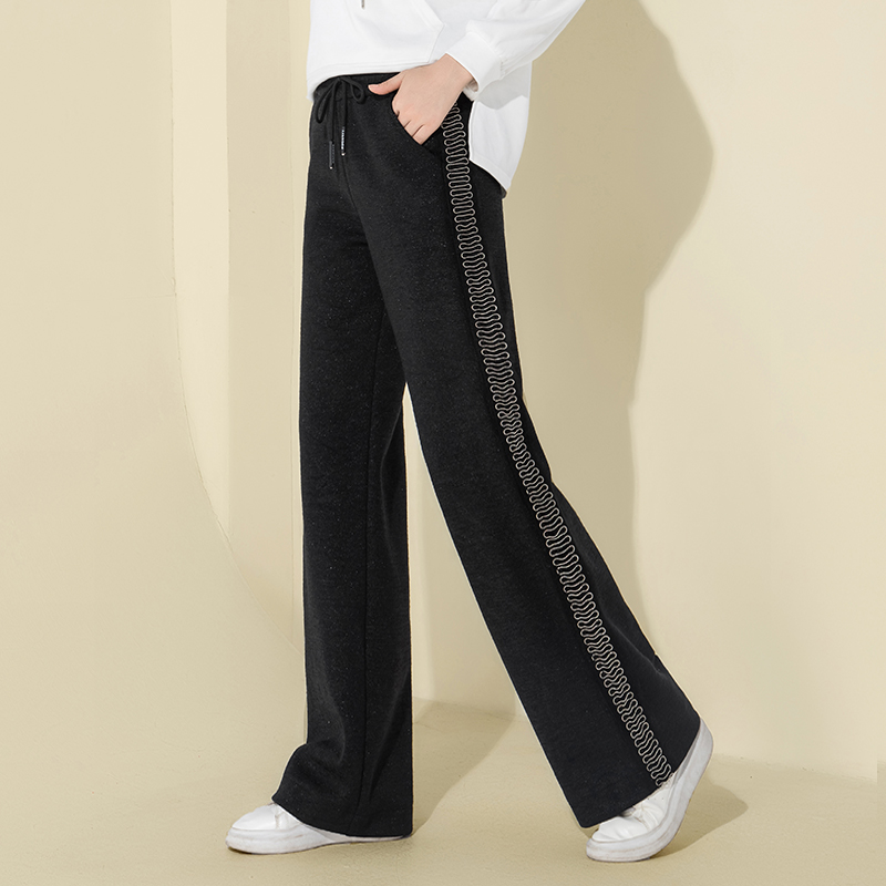 Women Winter Warm Thick   Pants   High Waist   Wide     Leg     Pants   Black Joggers   Pants   Casual Sequin   Pants   Palazzo Sweatpants Trousers 2018
