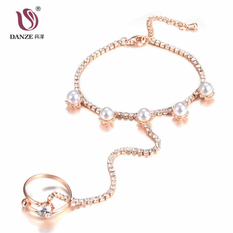 DANZE Fashion Crystal Rhinestone Hand Harness Bracelet Chain Link Finger Ring Rose Gold Color Simulated Pearls Stars Jewelry Set