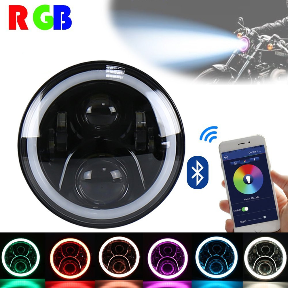 7inch Daymaker Led Headlight RGB Halo Ring Bluetooth Control Motorcycle Lamp For Harley Davidson FLD Touring Softail 7inch motorcycle daymaker replacement led headlight