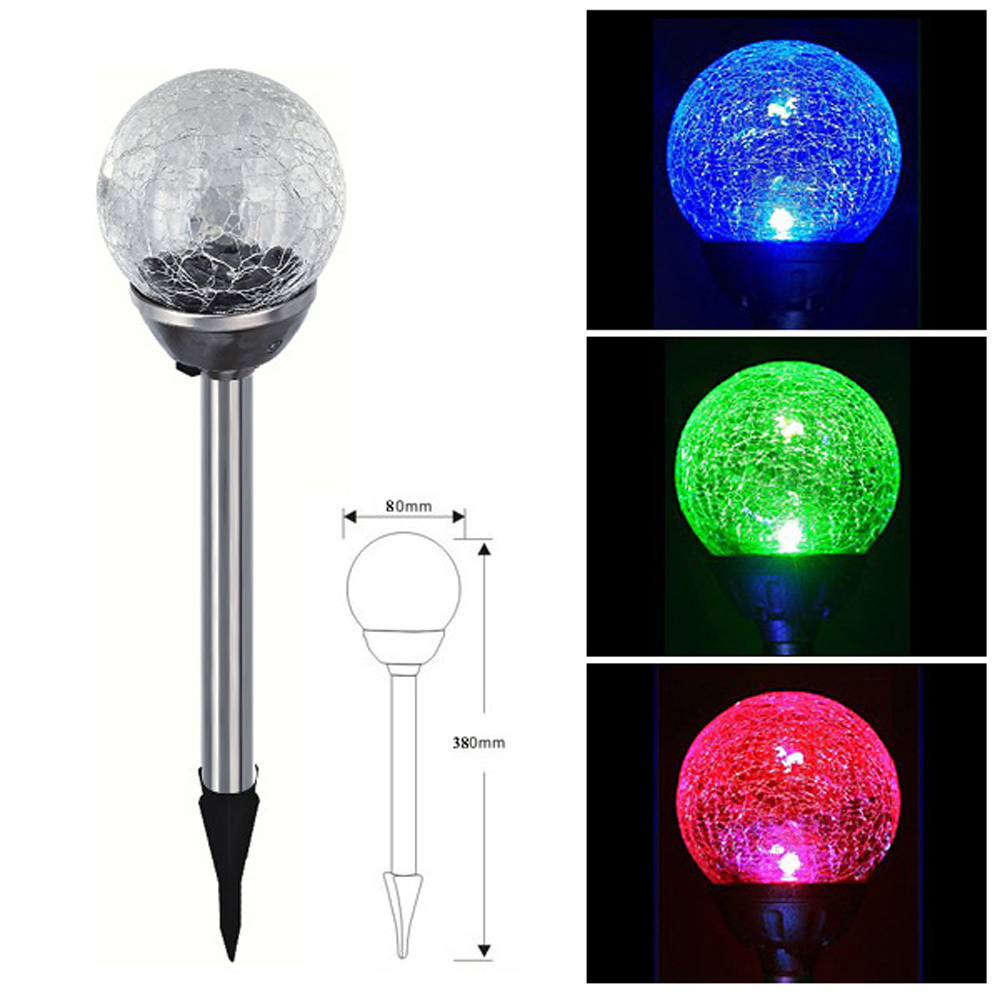 New RGB Color Gradual Changing Solar Crackle Glass Ball LED Lawn Lamp Light Lampada Led Solar Light with Stainless Steel Stake