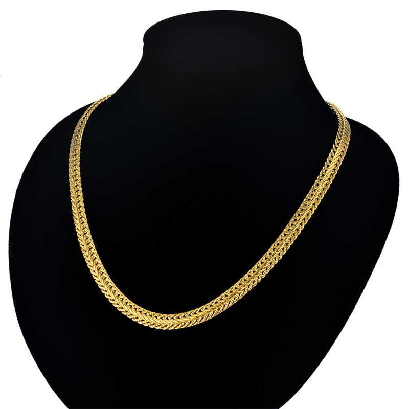 """ゴールドのチェーンゴールデンネックレス男性ジュエリー卸売 6 ミリメートル 17 """"-25"""" 男性のゴールドカラースネークチェーンネックレスコラルのコリアー"""