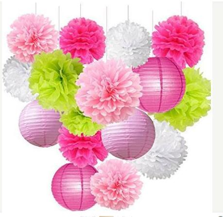 16pcs Pom Poms Decorations Tissue Paper Flowers Ball Mixed Lanterns Craft Kit For Pink Themed Birthday Party Decor In DIY From Home