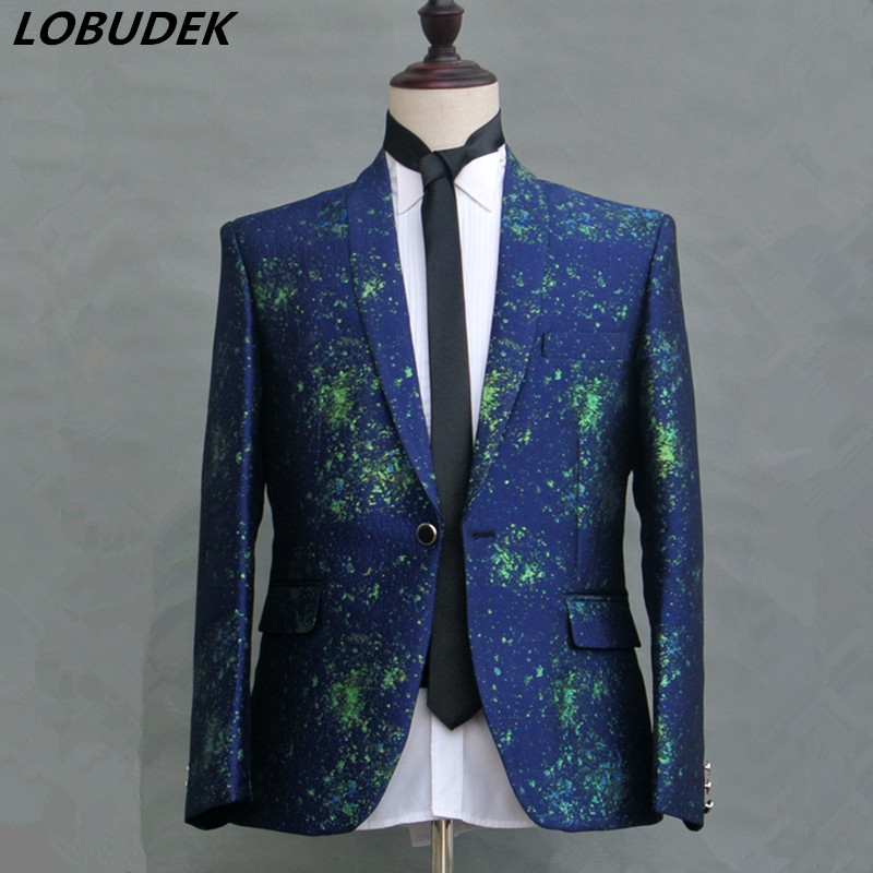 Fashion printing male slim suit jackets Formal Prom Host stage costumes Groom Men's Wedding Coat Bar singer performance cothing