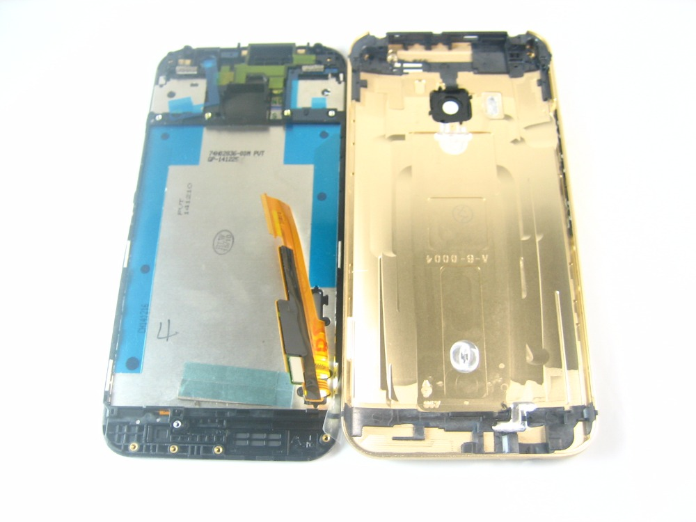 Replacement Full Front LCD Display Touch Screen Digitizer Gold Frame with Back Cover Housing for HTC