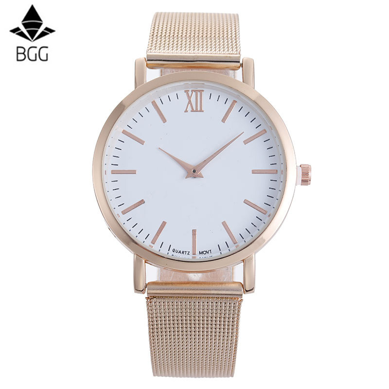BGG Brand Fashion Simple Dial Women Quartz Watches High Quality Stainless Mesh Strap Watches Watch Casual Ladies Watch Relogio high quality fashion women quartz watches simple design round dial pu leather watchband elegant ladies casual watch best gift