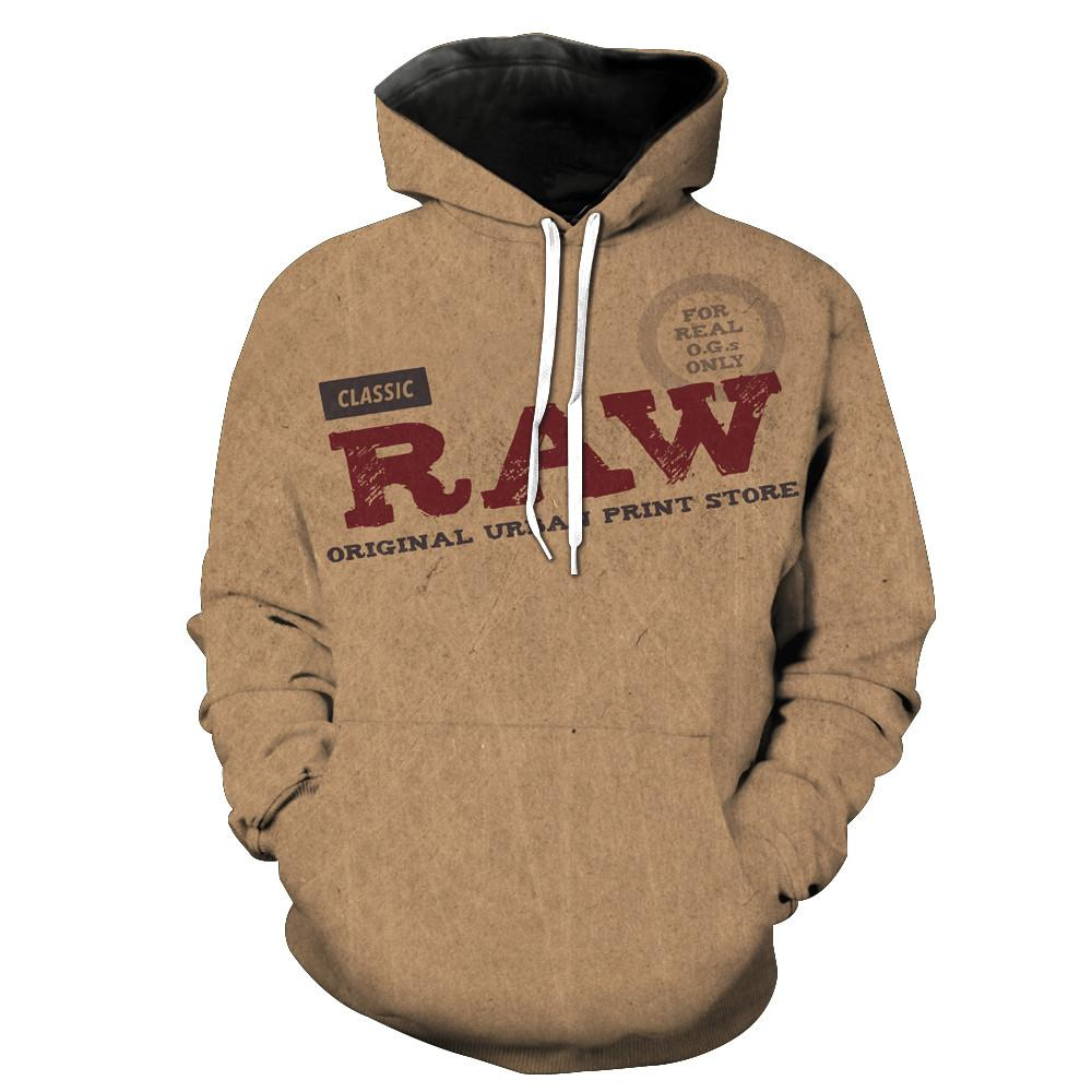 2018 FASHION MEN WOMEN Super Raw Rolling Papers HOODIE 3D Hoodie Sweatshirts Pullovers Autumn Tracksuit Winter Loose Thin Hoody