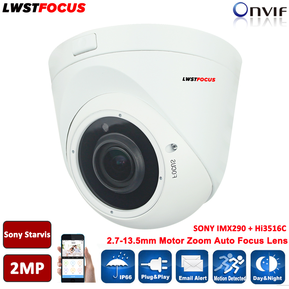 HI3516C+SONY Starvis IMX290 Full HD 1080P 2MP IP Camera 5X Motor Zoom Auto Focus 2.7-13.5mm Outdoor IR Dome Camera Onvif FREEIP 2 8 12mm varifocal sony starvis imx290 hi3516c 2mp ip camera 1080p h 265 h 264 outdoor ir cctv dome security camera poe onvif