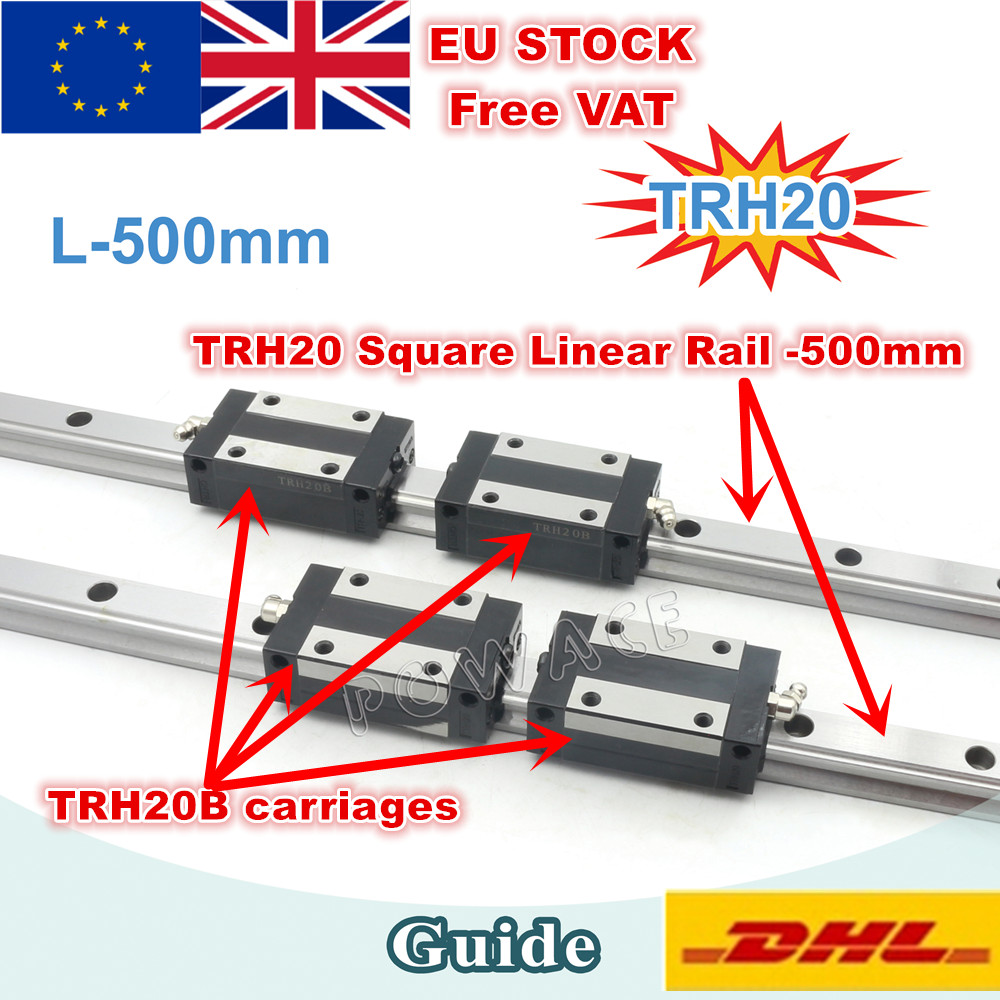 EU STOCK TRH20 Square Linear guide Rail 500mm 800mm for CNC Router Milling Machine TRH20B