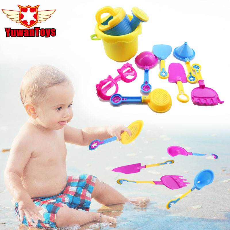 9pcs Summer Sand Beach Toy Sand Tools Set Sand Playing Toys Bathroom Fun Toys Water Toys Pretend Play Educational Outdoor Fun