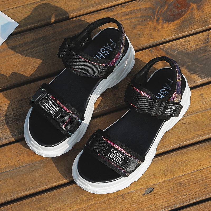 HTB1D7Pqd.GF3KVjSZFoq6zmpFXae - Fujin Summer Women Sandals Buckle Design Black White Platform Sandals Comfortable Women Thick Sole Beach Shoes