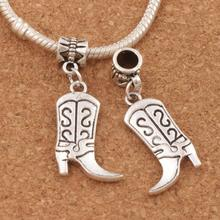S Design Cowboy Boots High Heel Charm Beads 15PCS Antique Silver Dangle Fit European Bracelets 36.3x16.2mm B250 maggie carpenter cowboy s rules