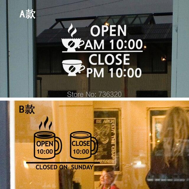 Kostenloser Versand Shop Stunden Vinyl Wandtattoo Kaffeetasse Shop
