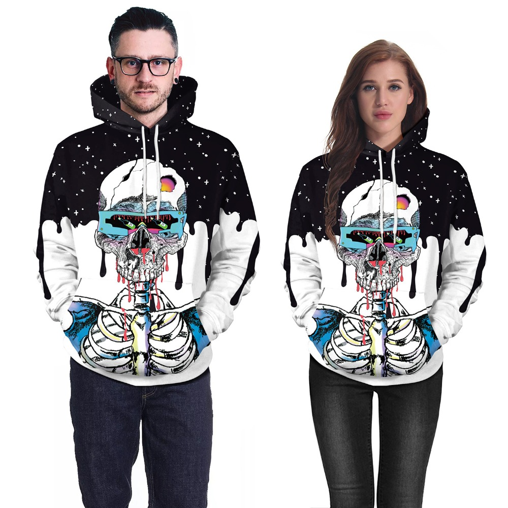 3D Print Autumn Fashion Hoodies Women Men Halloween Skull Theme Pullover Causal Loose Plus Size Hoodie Sweatshirt Unisex Costume