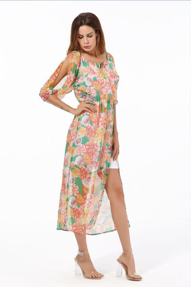 Африканские Цветочные Летние платья Длинные шифон пляж Праздничная одежда, платье - Цвет: Золотой