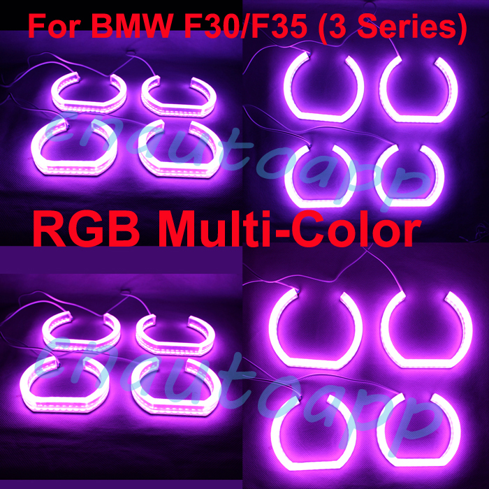 Angel Eye RGB Multi-Color Crystal Light Headlights Running Light Turn Light DRL No Error Remote Kit - One Set 100mm dc12 24v daytime running light rgb color cob angel eye ring remote control car stying