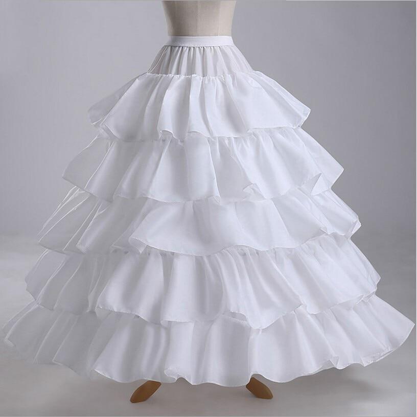 4 Hoops 5 Layers Ball Gown Petticoats White Petticoat Crinoline Underskirt Ruffles Wedding Accessories 2019