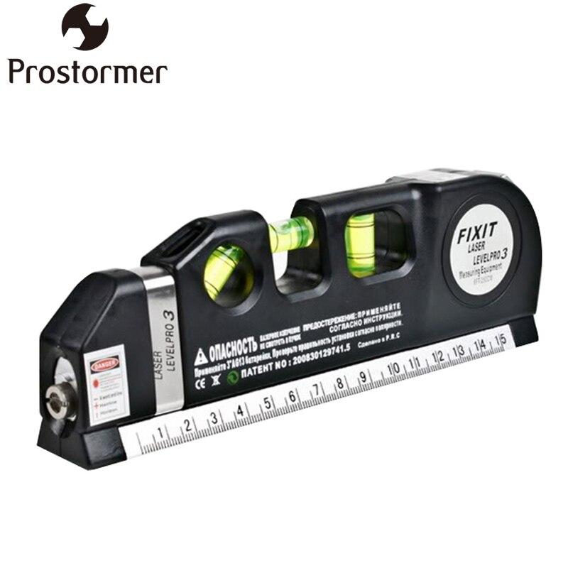 PROSTORMER Laser Ebene Standard und Metrischen Herrscher Draht Infrarot Level Laser Horizon Vertical Maßband Aligner Blasen herrscher