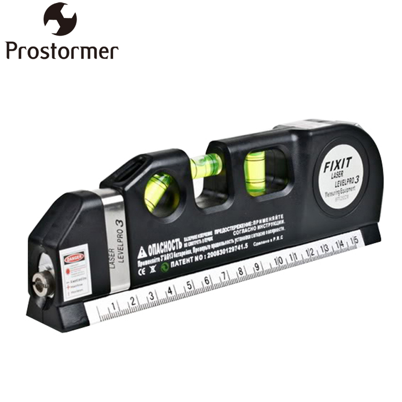 PROSTORMER Laser Level Standard and Metric Rulers Wire Infrared Level Laser Horizon Vertical Measure Tape Aligner Bubbles ruler