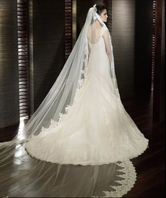 Ivory White One-Layer Appliques Lace Bridal Veils Luxury 3 Meters Long Bridal Veils Wedding Accessories White Long Wedding Veils