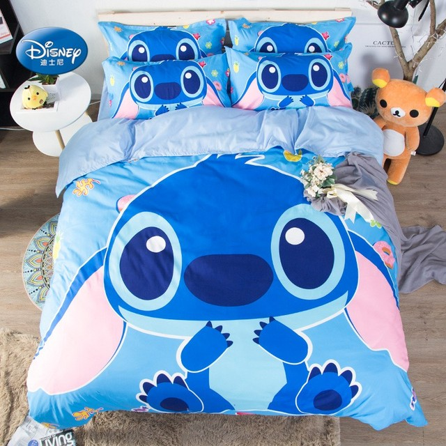 Disney Lilo And Stitch Bedding Set Fitted Sheet Blue Comforter Cover 3D Boy Room  Decor Bed