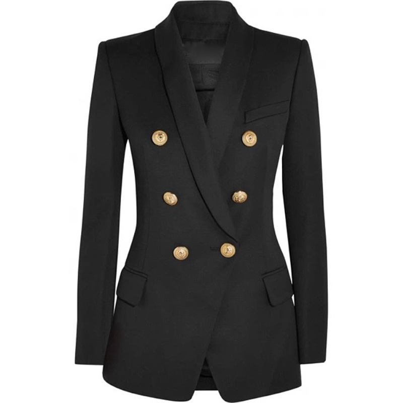 2018 Autumn Winter Black Office Jacket Women Runway Designer Double Breasted Gold Buttons Ladies Formal Jacket