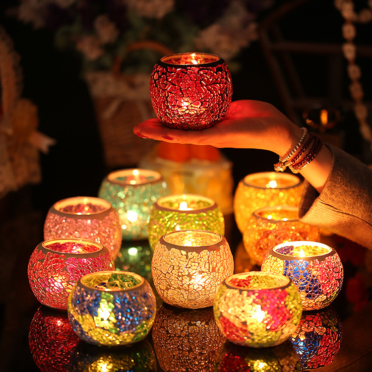 European style colorful glass candle cup candle cup KTV ...