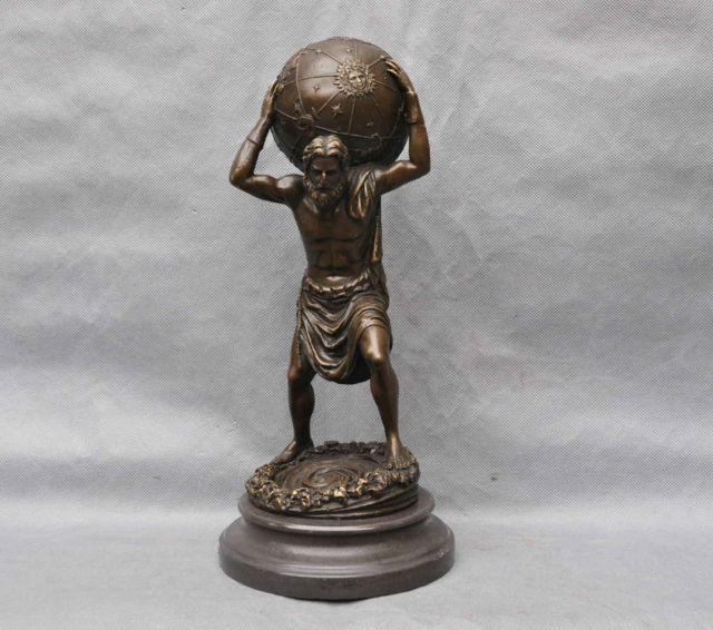 Us 380 0 Greek Myth God Atlas Man Carry Globe Ball Art Sculpture Statue Cigarette Lighter Cooking Tools Decoration 100 Brass Bronze In Home Office