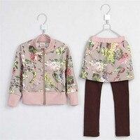 Spring Little Girls Floral Print Long Sleeve Sweater Pantskirt Baby Girls Cotton Clothing Set Girls Clothing 2868