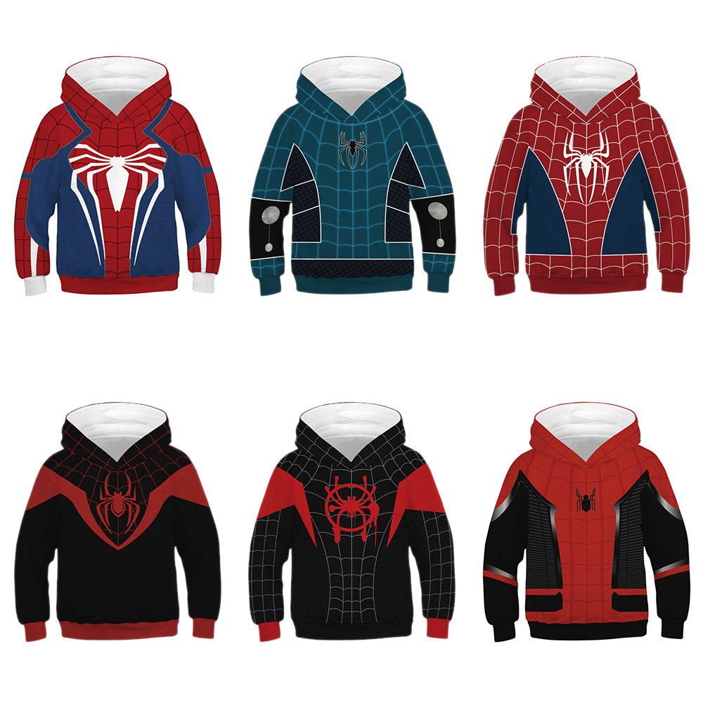 Spring Autumn Fashion 3D Printed Spiderman Long Sleeve Hoodie Casual Tops Children's Pullover Hoodies  Hip Hop Warm Hooded(China)