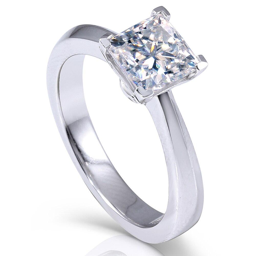 Transgems 1.3ctw Princess Cut Lab Grown Moissanite Diamond Engagement Wedding Ring Platinum Plated 925 Sterling Silver transgems 1 carat lab grown moissanite diamond solitaire wedding band for man brilliant solid 18k two tone gold gentle dcc031