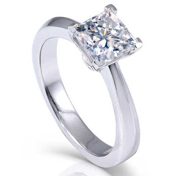 Transgems 1.3ctw Princess Cut Lab Grown Moissanite Diamond Engagement Wedding Ring Platinum Plated 925 Sterling Silver - DISCOUNT ITEM  5% OFF All Category