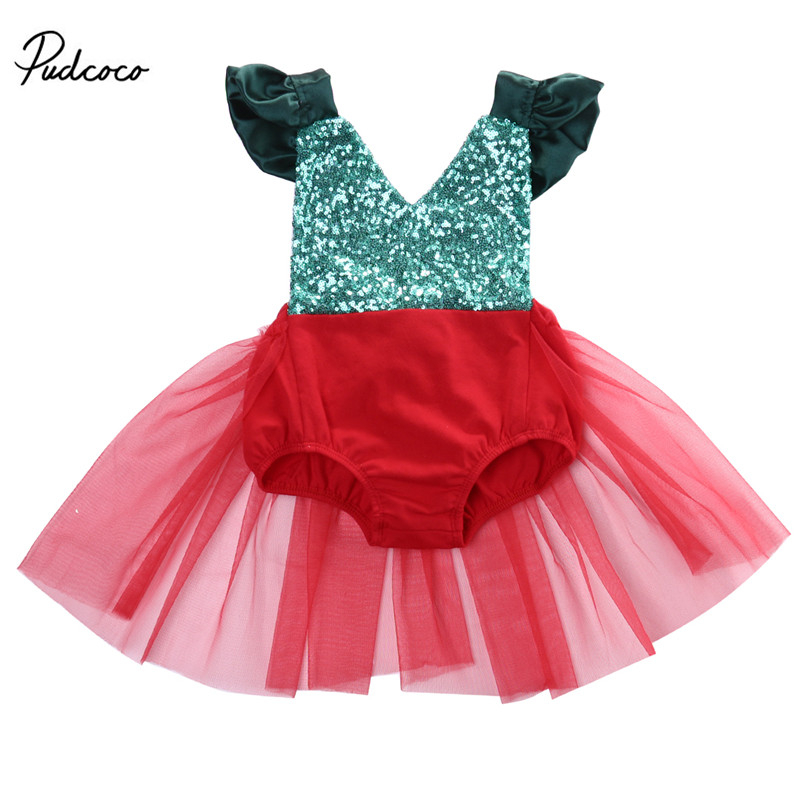 Christmas Newborn Infant Baby Girl Sequined Backless   Romper   Tulle Tutu Sunsuit Xmas Outfits Clothes