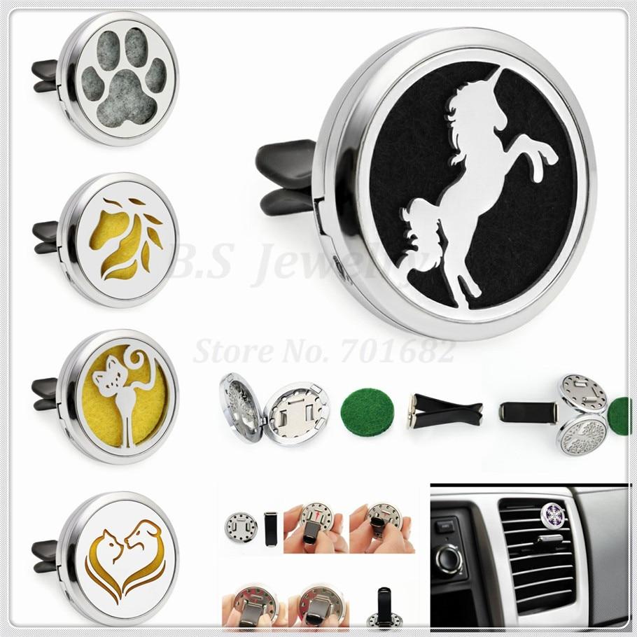 Behendig Eenhoorn/paard Hoofd/poot/hond En Kat Auto Aromatherapie Medaillon 30mm Magneet Essentiële Olie Auto Parfum Medaillon Verwijderbare Clip (10 P Pads) Betrouwbare Prestaties