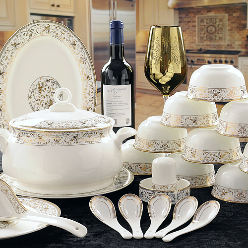 56 Piece Set Royal Gold Ware Designed Fine Bone China