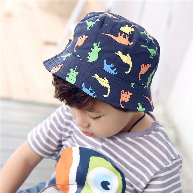 Quality Baby Boy Bucket Hat Summer Crochet Hat Boy Dinosaur Cap Cotton Dark  Blue Caps Brand Hats for Baby Girls Boys Hats 8947d5d4a7d