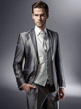 2017 Latest Coat Pant Designs Sliver Grey Satin Formal Wedding Suit For Men Custom Made 3 Pieces Tuxedo Men jaqueta masculino