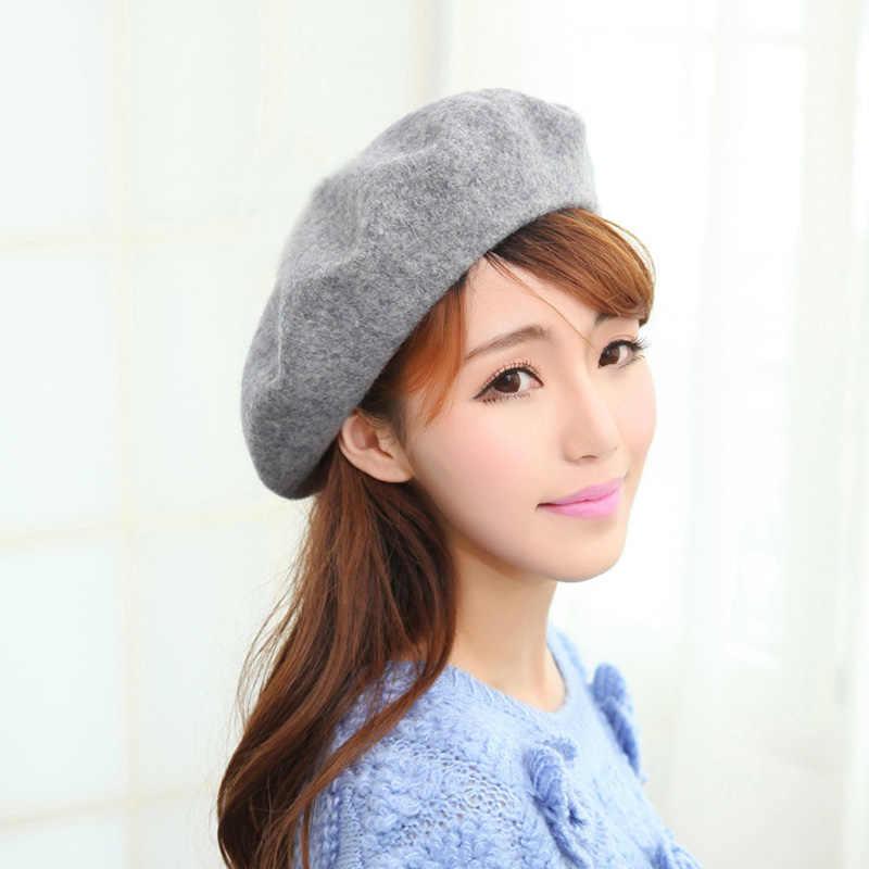 2018 Musim Dingin dengan Harga Murah 100% Wol Warna Solid Topi Baret Wanita Topi Wanita Wanita Pelukis Semua Cocok Hangat Berjalan Topi grosir