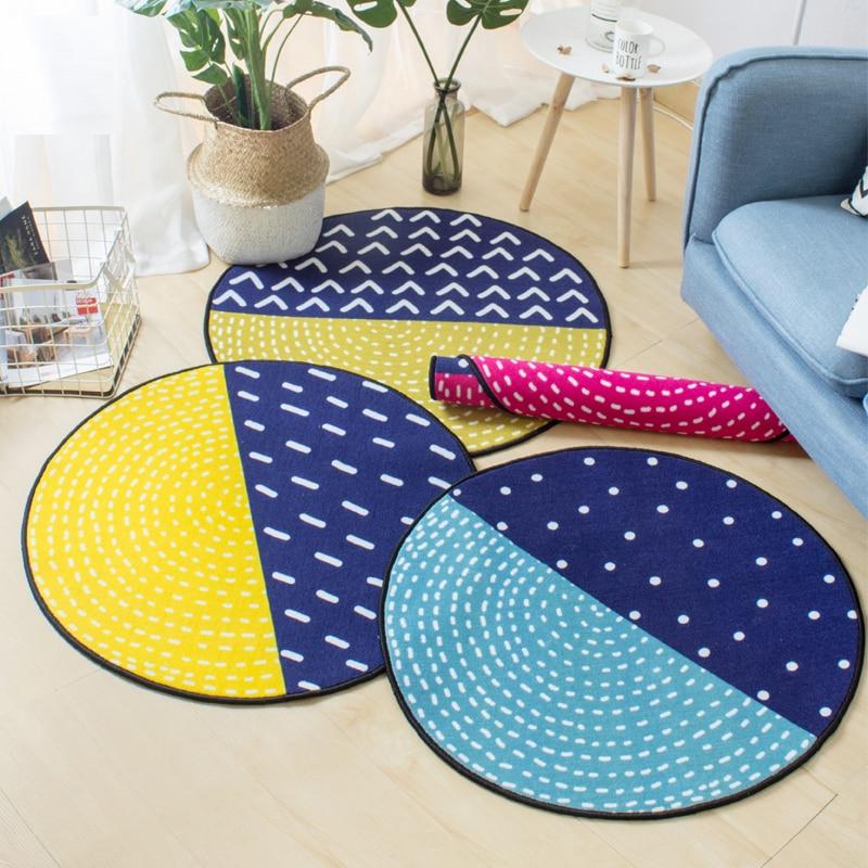 Tapis rond géométrique bleu/rose/jaune tapis Durable lavable antidérapant pour les coureurs de tapis de chevet de chambre à coucher de filles