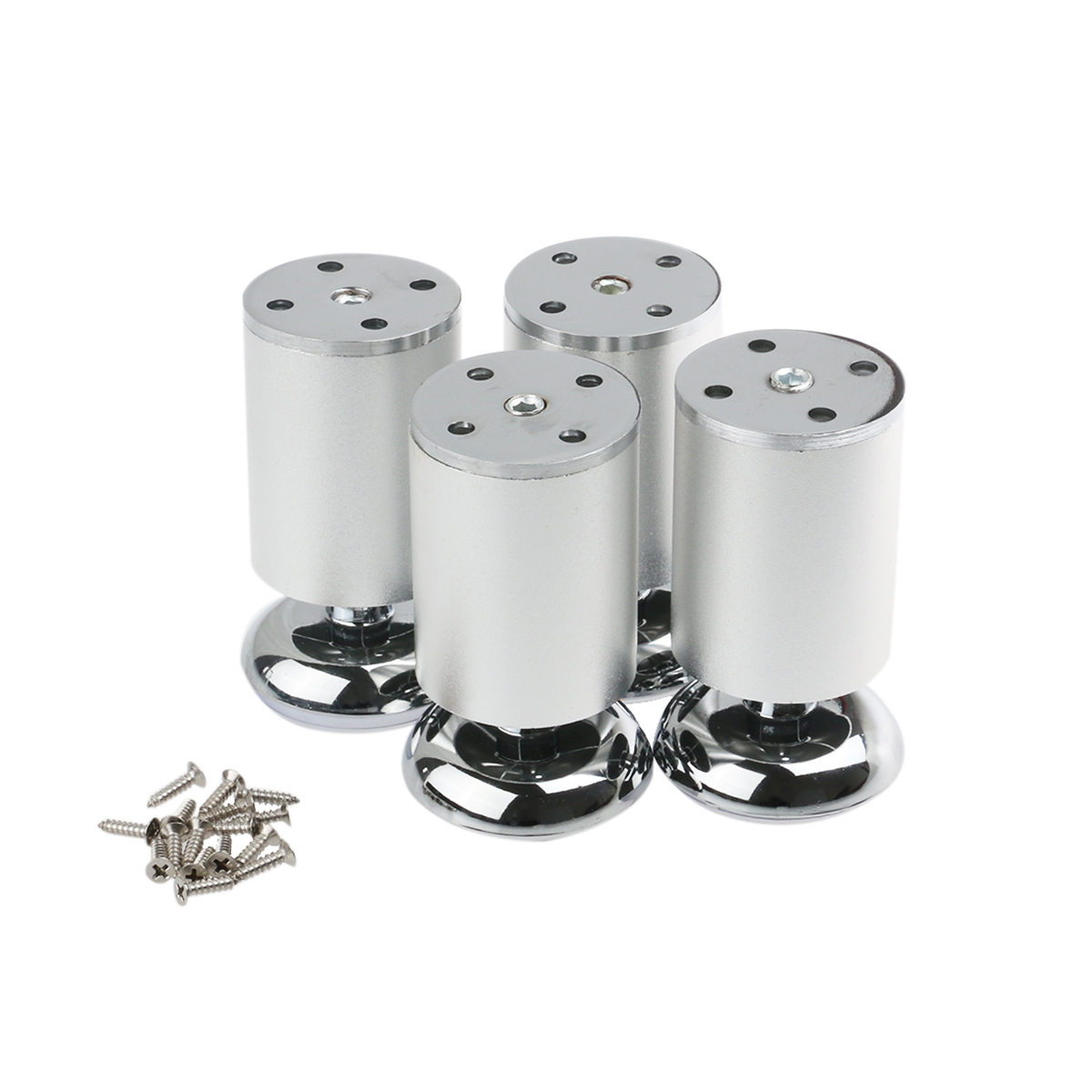 4pcs Stainless Steel Kitchen Adjustable Feet Round Furniture Legs for DIY  furniture, cabinets, shelves (Silver)