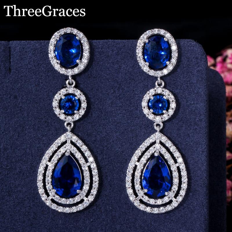 ThreeGraces Elegantní Micro Pave AAA + CZ kámen dlouhé velké královské modré křišťálové svatební náušnice šperky pro nevěsty ER018