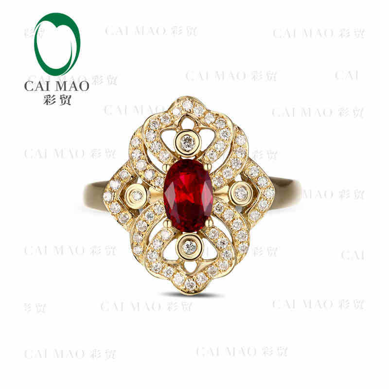 CaiMao 18KT/750 Yellow Gold ct Natural Red Blood Ruby & 0.68 ct Full Cut Diamond Engagement Gemstone Ring Jewelry caimao jewelry natural red ruby with pearl and diamond engagement 14ct yellow gold pendant
