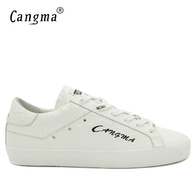 d48a60eb0eec CANGMA Handgemachte Weiße Schuhe Für Mann Luxusmarke Aus Echtem Leder  Turnschuhe Freizeitschuhe männer Retro Männlich Italienischen