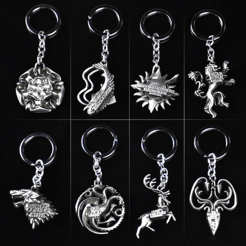 Fashion Anime Key Chains Ring Jewelry Game Of Thrones Keychain For Men Car Keyring Gift Souvenirs Trinket Portachiavi Chaveiro ...