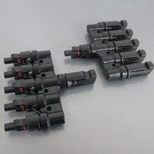 1 пара x MC4 5 т разъем мужчина и женщина, MC4 5 филиал Панели солнечные разъем используется для солнечной Модуль параллельное соединение IP67 TUV