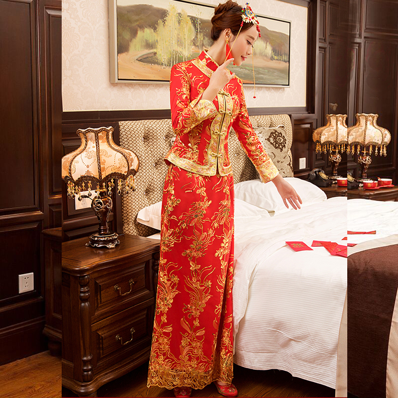 New Red traditional chinese wedding dress Qipao National Costume Womens Overseas Chinese Style Bride Embroidery Cheongsam S-XXL 6