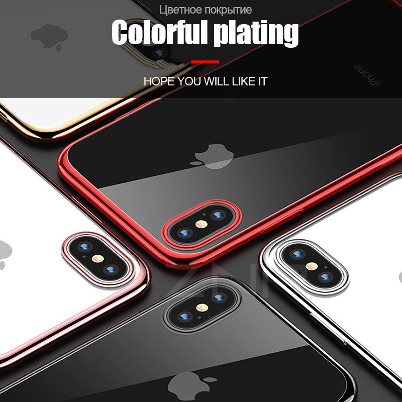 Galleria fotografica ZNP Luxury Plating Silicone Case For iphone X 8 7 6s Plus 10 Ultra-This Soft TPU Transparent Phone Cover For iphone 6 7 8 X Case
