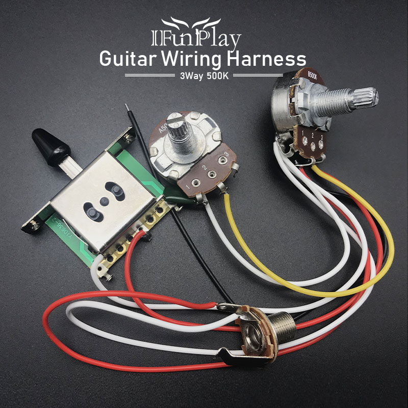 electric guitar wiring harness prewired kit a500k b500k 18mm shaft big pots 3  way switch 1 volume 1 tone control wiring harness