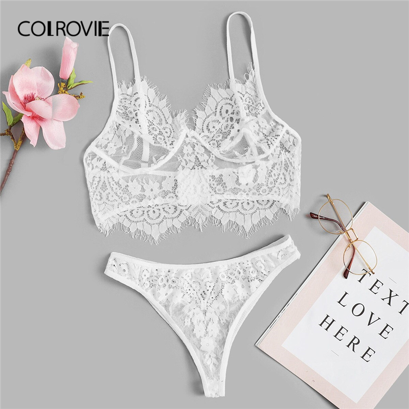 COLROVIE White Floral Lace Sexy Lingerie Set Women Intimates 2019 Wireless See Through Sexy Bra And Briefs Ladies Underwear Set