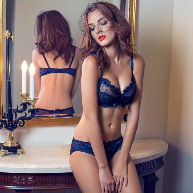 f6e512df92cb2 Brand Time-limited Floral Bras 2015 New Women Transparent Bra Plus Size Lace  Brief Sets Sexy Lingerie Bikini Intimates Set 9160