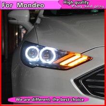 تصفيف السيارة لفورد مونديو 2016 2018 LED العلوي ل جديد الانصهار رئيس مصباح ديناميكية بدوره إشارة LED DRL ثنائية زينون HID